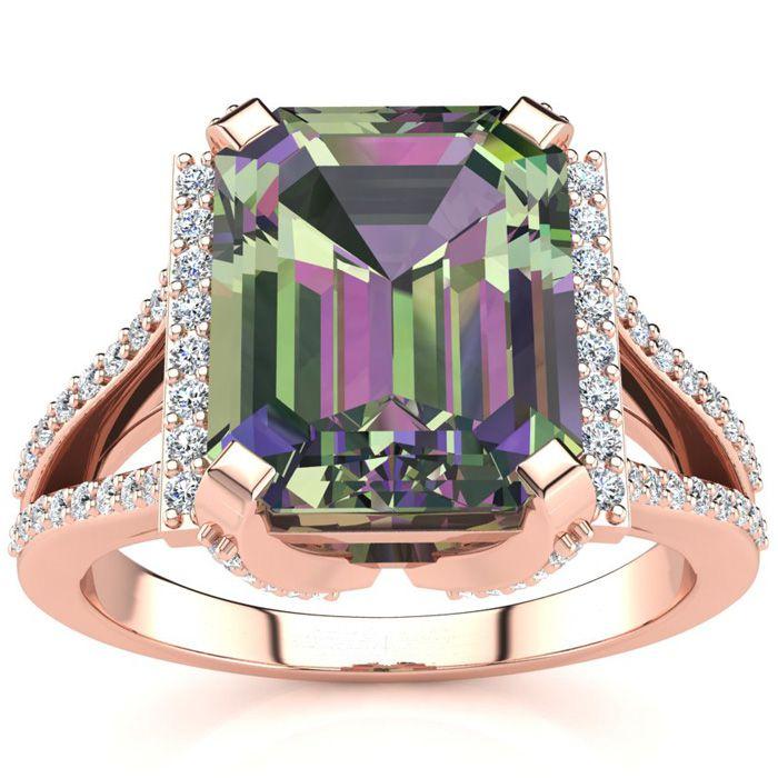 3 1/2 Carat Mystic Topaz & Halo Diamond Ring in 14K Rose Gold (6
