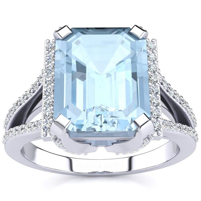 3 1/2 Carat Emerald Cut Aquamarine and Halo Diamond Ring In 14 Karat White Gold
