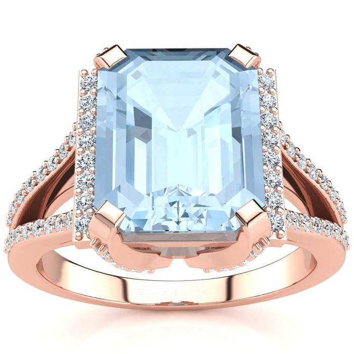 3 1/2 Carat Emerald Cut Aquamarine and Halo Diamond Ring In 14 Karat Rose Gold