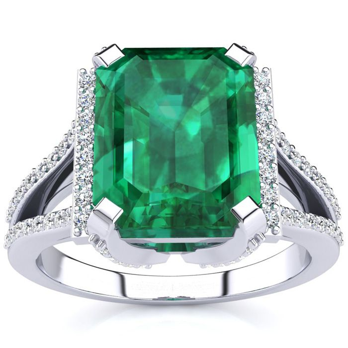 3 1/2 Carat Emerald Cut Emerald and Halo Diamond Ring In 14 Karat White Gold