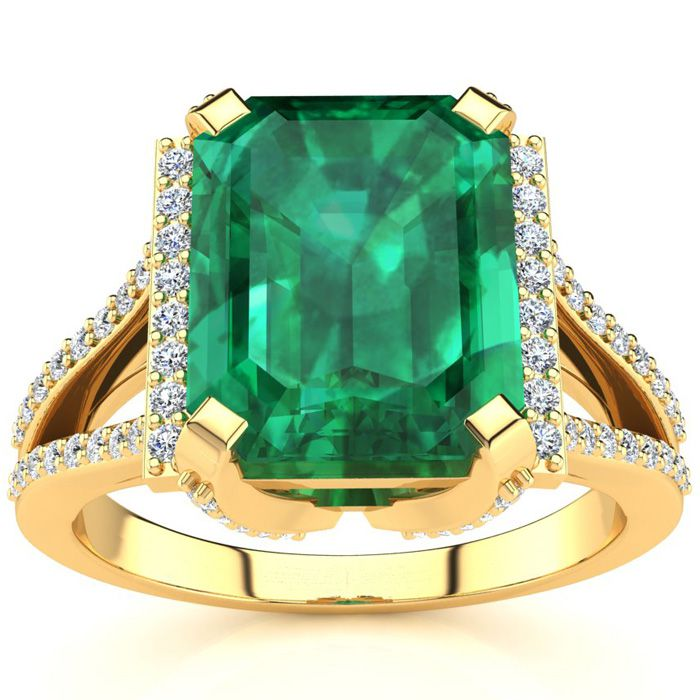 3 1/2 Carat Emerald Cut Emerald and Halo Diamond Ring In 14 Karat Yellow Gold