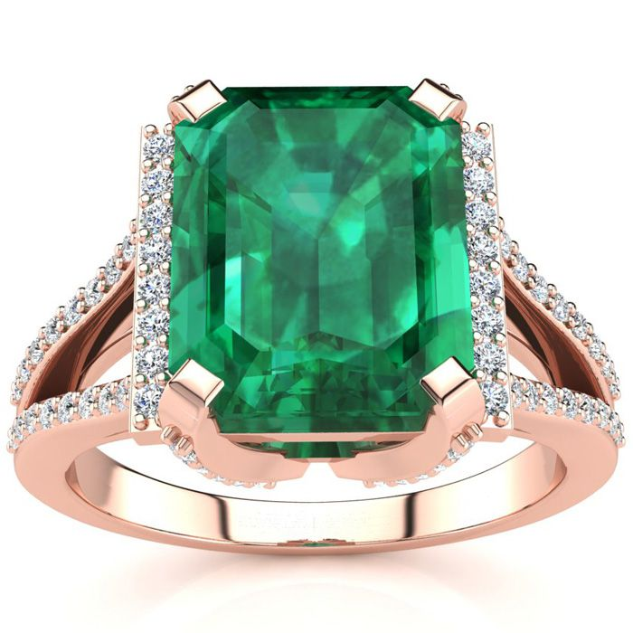 3 1/2 Carat Emerald Cut & Halo Diamond Ring in 14K Rose Gold (6 g