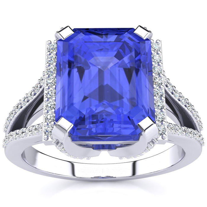 4 Carat Emerald Cut Tanzanite and Halo Diamond Ring In 14 Karat White Gold