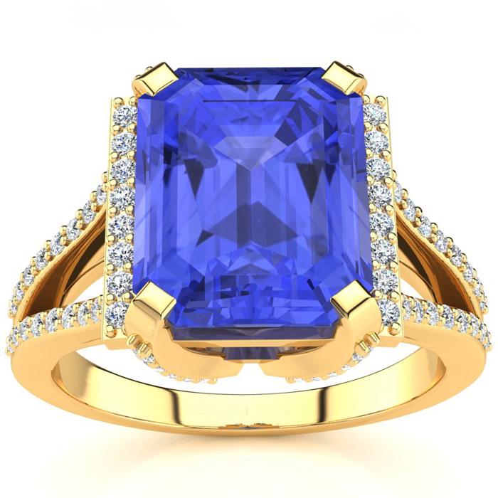 4 Carat Emerald Cut Tanzanite and Halo Diamond Ring In 14 Karat Yellow Gold