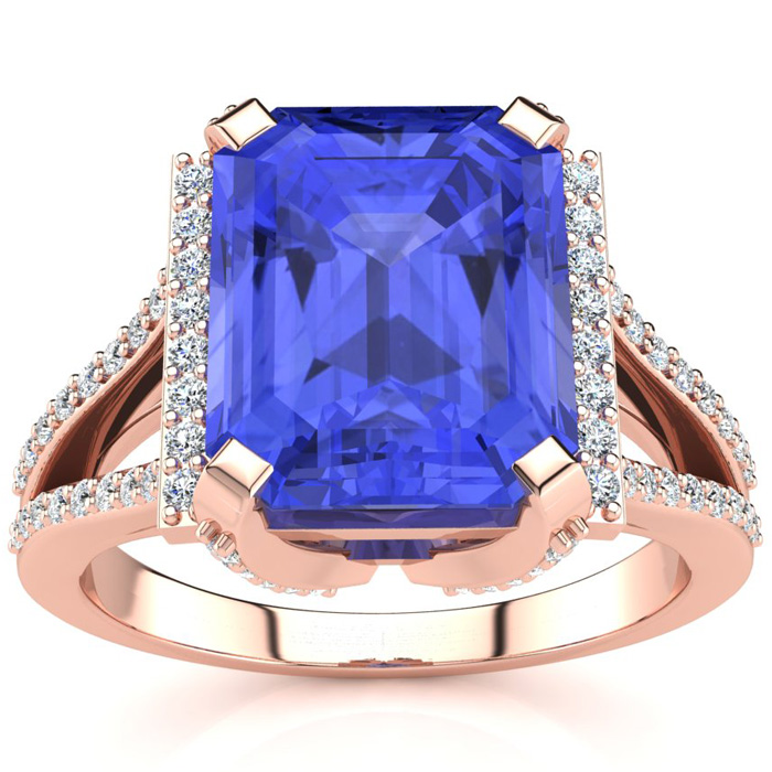 4 Carat Emerald Cut Tanzanite and Halo Diamond Ring In 14 Karat Rose Gold