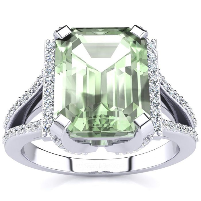 3 1/2 Carat Emerald Cut Green Amethyst and Halo Diamond Ring In 14 Karat White Gold