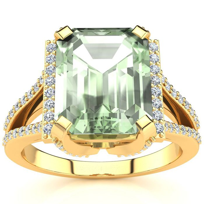 3 1/2 Carat Emerald Cut Green Amethyst and Halo Diamond Ring In 14 Karat Yellow Gold