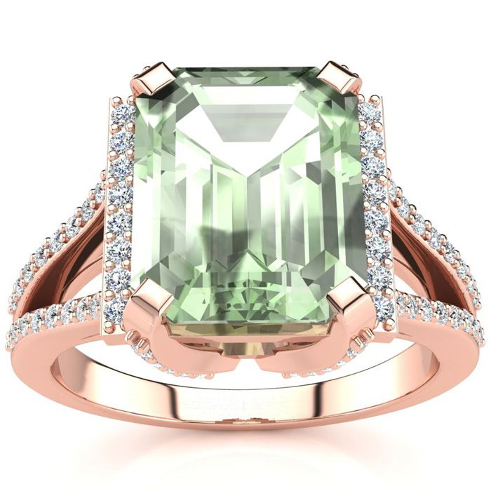 3 1/2 Carat Green Amethyst & Halo Diamond Ring in 14K Rose Gold (