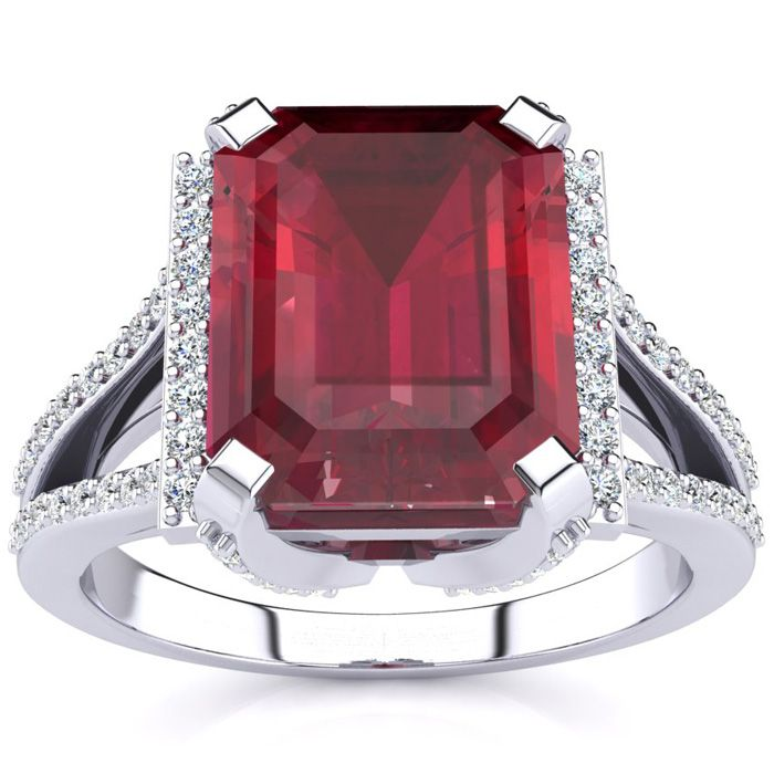 4 3/4 Carat Ruby & Halo Diamond Ring in 14K White Gold (6 g), I/J