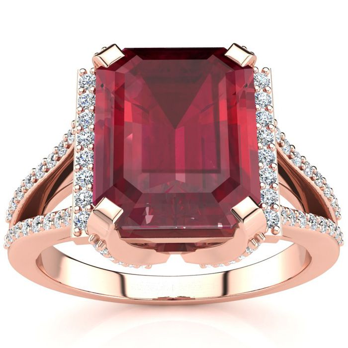 4 3/4 Carat Emerald Cut Ruby and Halo Diamond Ring In 14 Karat Rose Gold