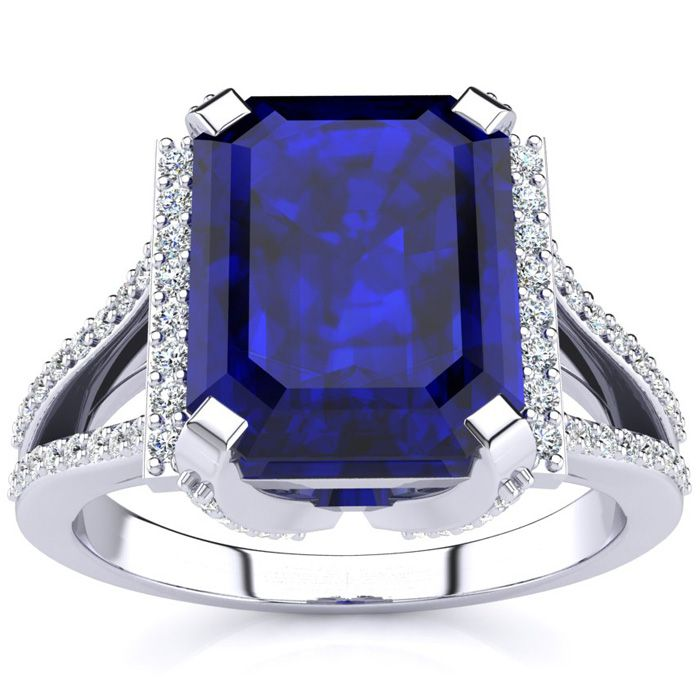 4 3/4 Carat Emerald Cut Sapphire and Halo Diamond Ring In 14 Karat White Gold