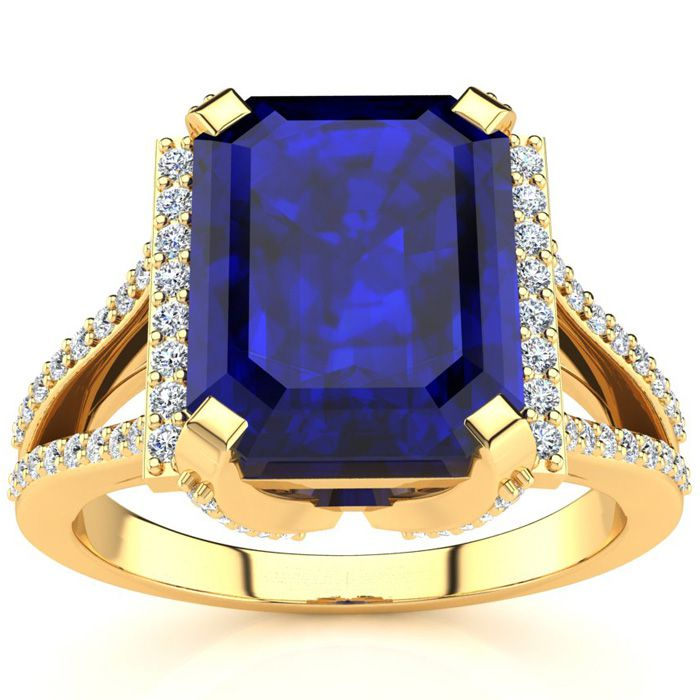 4 3/4 Carat Emerald Cut Sapphire and Halo Diamond Ring In 14 Karat Yellow Gold