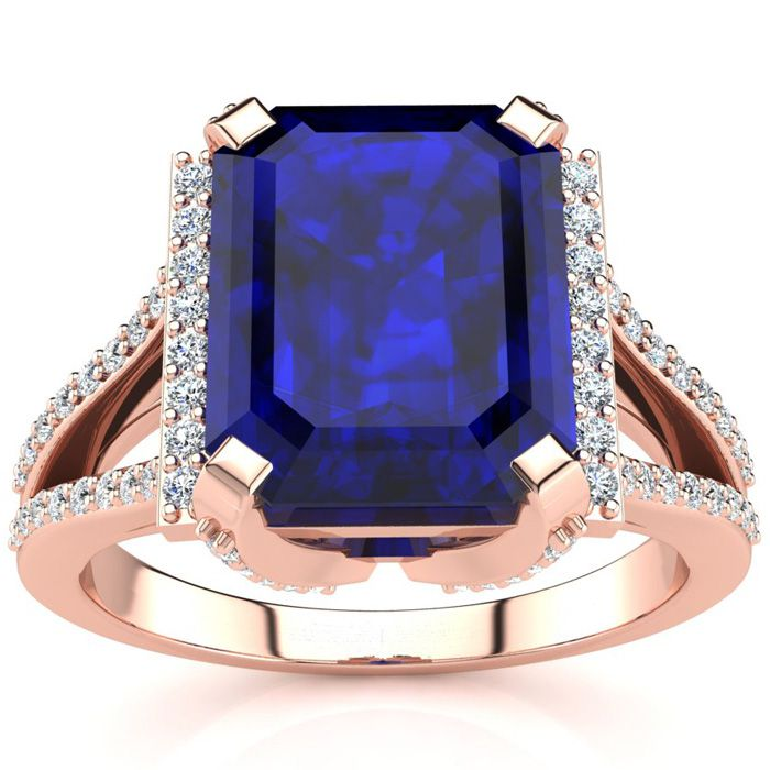 4 3/4 Carat Emerald Cut Sapphire and Halo Diamond Ring In 14 Karat Rose Gold