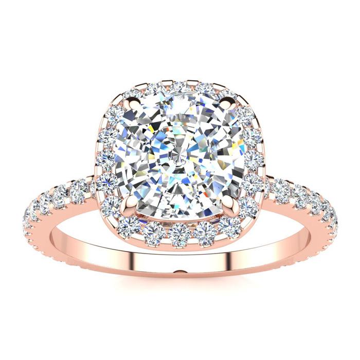 2.5 Carat Cushion Cut Halo Diamond Engagement Ring in 14K Rose Go