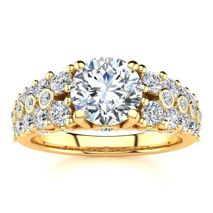 14K Yellow Gold (6.6 g) 2 1/3 Carat Fancy Diamond Engagement Ring, w/ 1.25 Carat Center (H-I, SI2-I1) by SuperJeweler