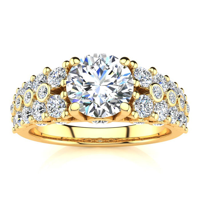 14K Yellow Gold (6.6 g) 2 1/3 Carat Fancy Diamond Engagement Ring