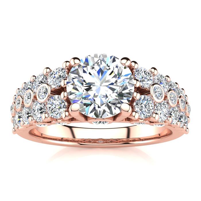 14K Rose Gold (6.6 g) 2 1/3 Carat Fancy Diamond Engagement Ring,