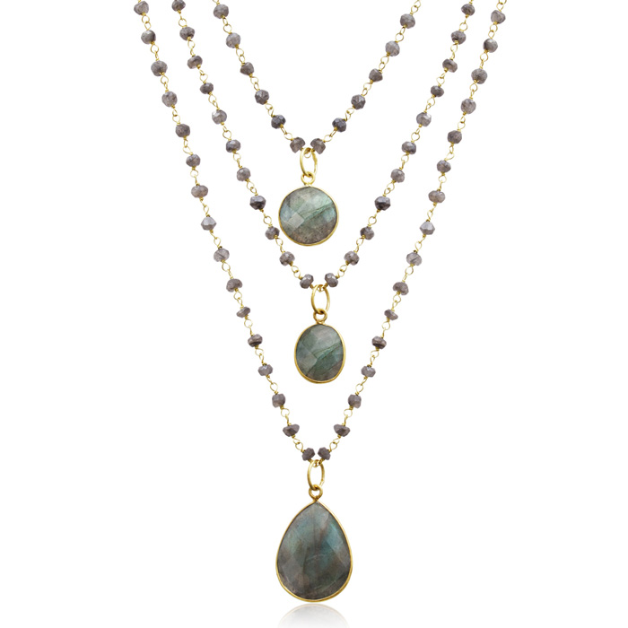 138 Carat Labradorite Triple Strand Beaded Necklace in 14K Yellow
