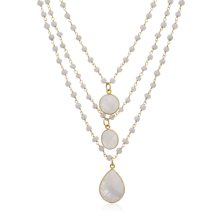 138 Carat Moonstone Triple Strand Beaded Necklace in 14K Yellow G