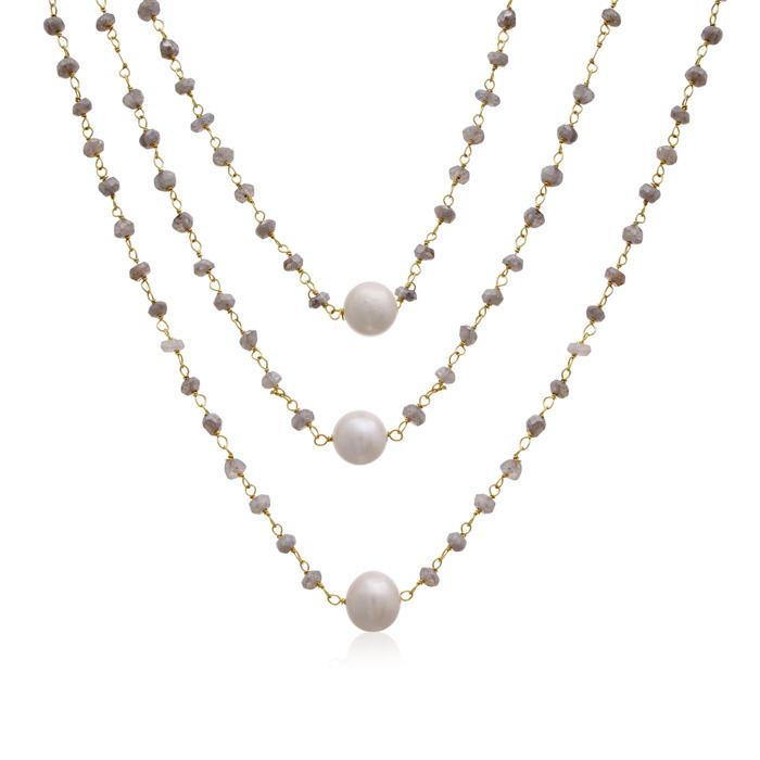 41 Carat Labradorite & Pearl Triple Strand Necklace in 14K Yellow