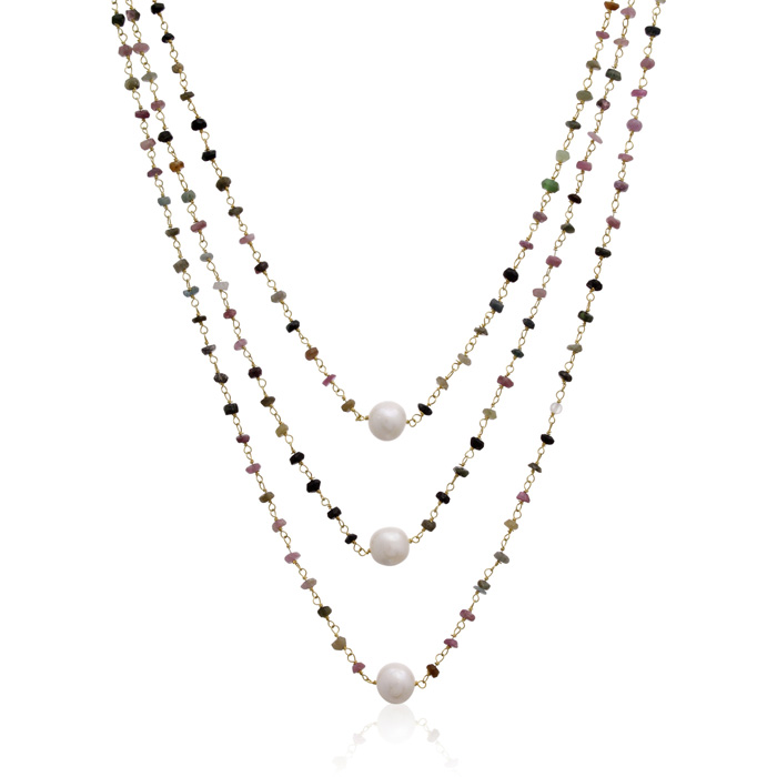 41 Carat Pink Tourmaline & Pearl Triple Strand Necklace in 14K Ye