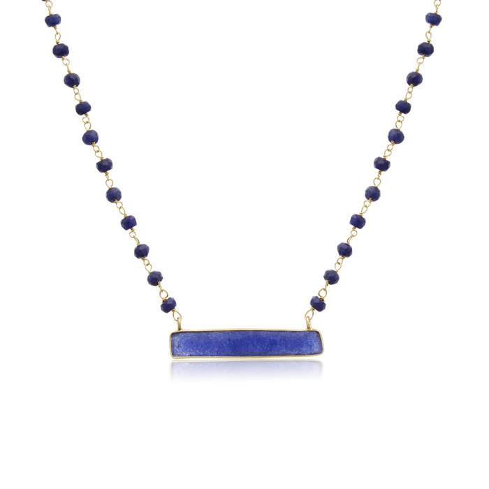36 Carat Blue Sapphire Bar Necklace in 14K Yellow Gold Over Sterl