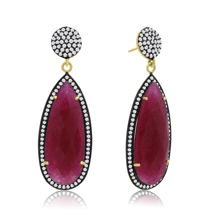 32 Carat Pear Shape Ruby & Crystal Dangle Earrings in 14K Yellow