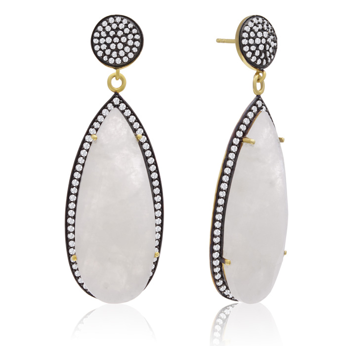 32 Carat Pear Shape Moonstone & Crystal Dangle Earrings in 14K Ye