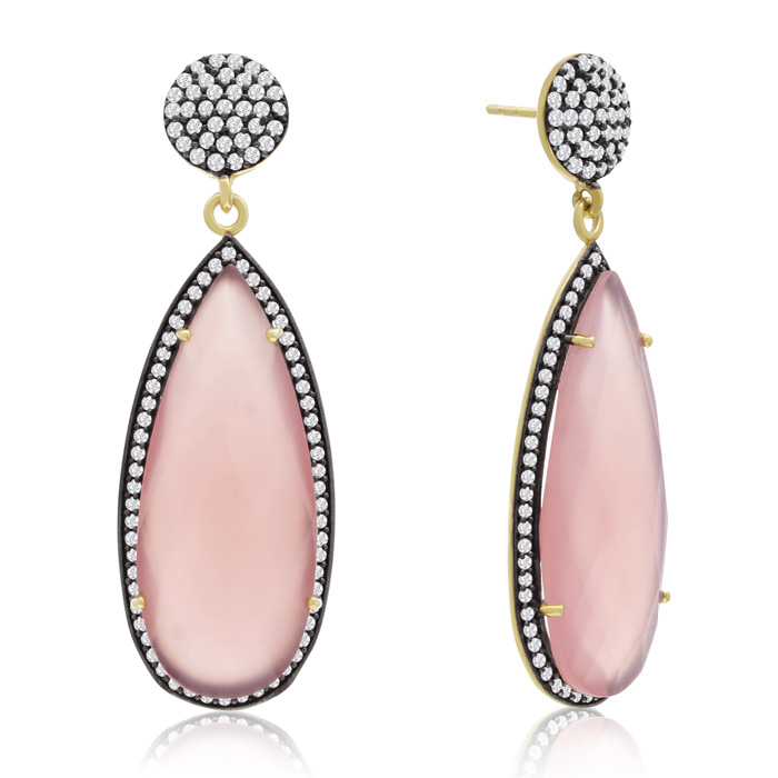 32 Carat Pear Shape Rose Quartz & Crystal Dangle Earrings in 14K