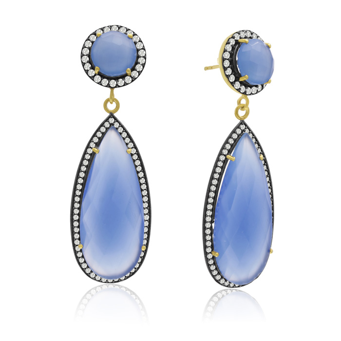 64 Carat Pear Shape Blue Chalcedony & Crystal Halo Dangle Earring