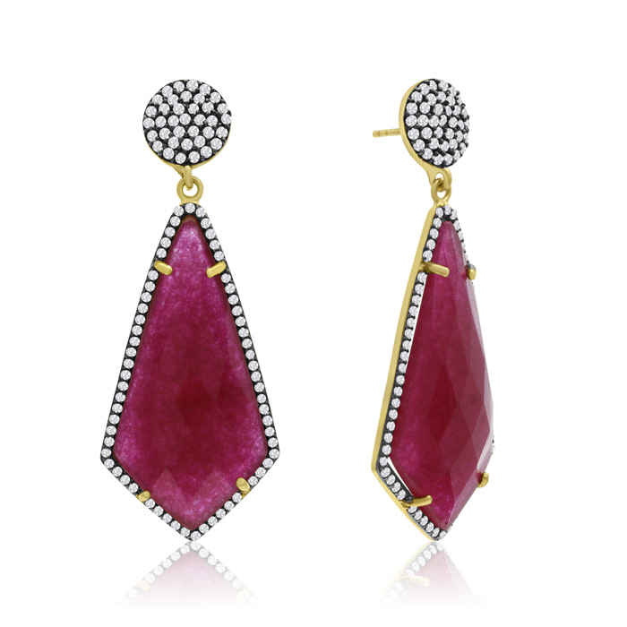 45 Carat Diamond Shape Ruby & Crystal Dangle Earrings in 14K Yell