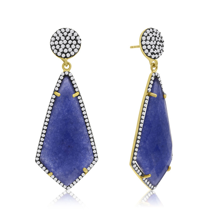 45 Carat Diamond Shape Blue Sapphire and Simulated Diamond Dangle Earrings In 14K Yellow Gold Over Sterling Silver