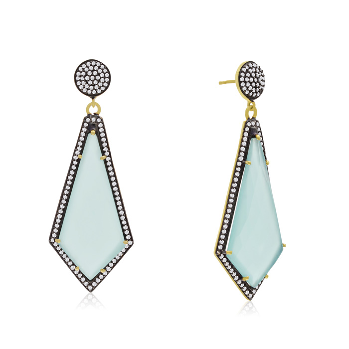 45 Carat Diamond Shape Green Chalcedony and Simulated Diamond Dangle Earrings In 14K Yellow Gold Over Sterling Silver