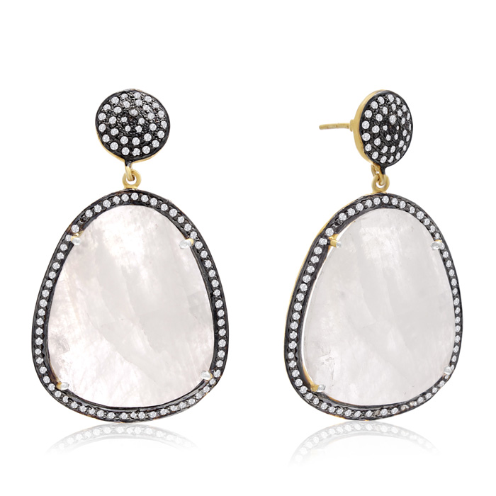 86 Carat Free Form Moonstone and Simulated Diamond Dangle Earrings In 14K Yellow Gold Over Sterling Silver