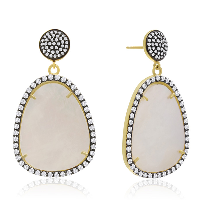 86 Carat Free Form Mother of Pearl and Simulated Diamond Dangle Earrings In 14K Yellow Gold Over Sterling Silver