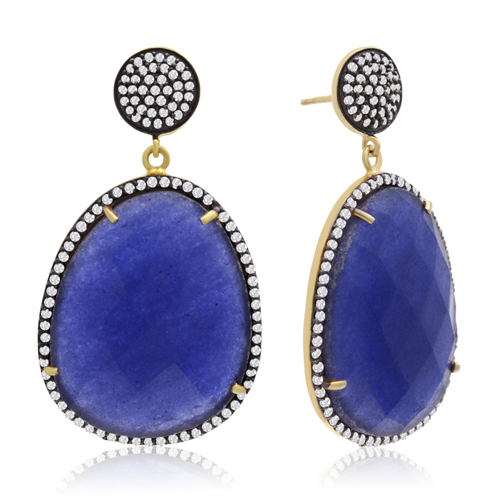 86 Carat Free Form Blue Sapphire and Simulated Diamond Dangle Earrings In 14K Yellow Gold Over Sterling Silver