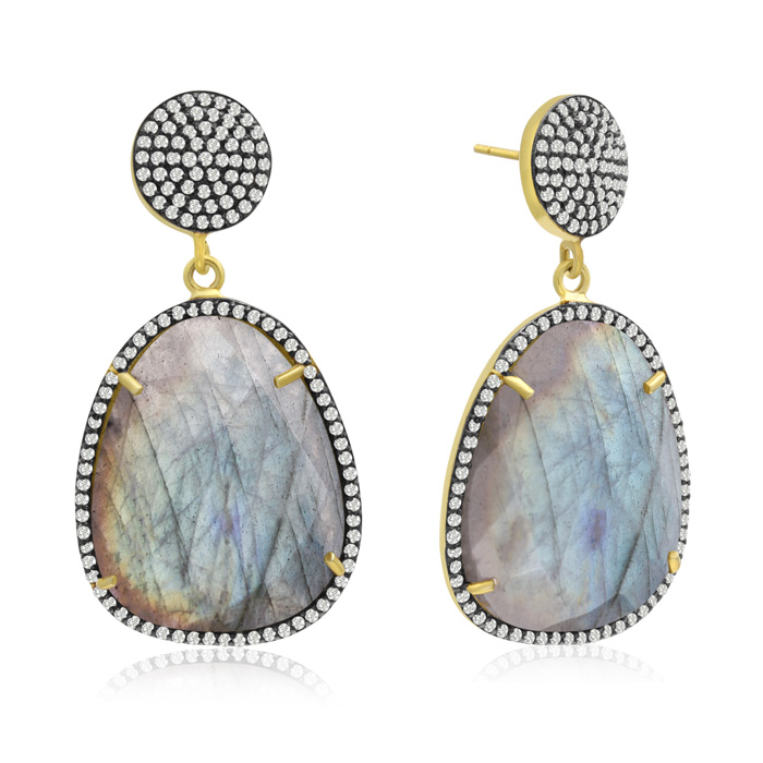 86 Carat Free Form Labradorite and Simulated Diamond Dangle Earrings In 14K Yellow Gold Over Sterling Silver