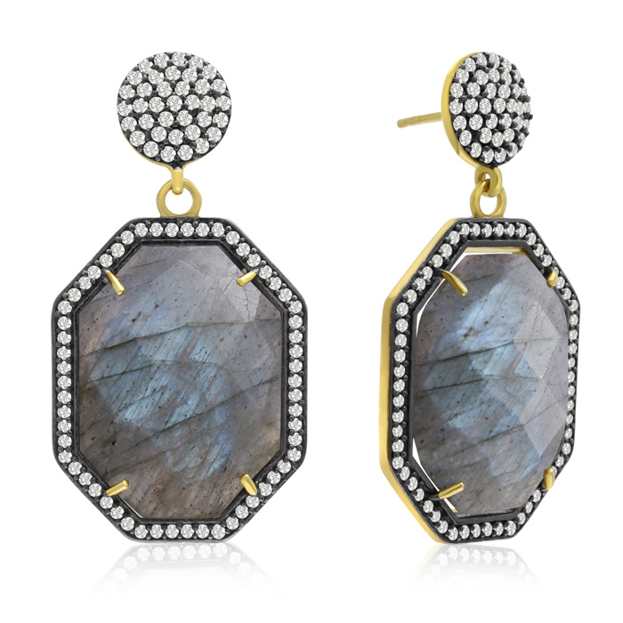 79 Carat Octagon Shape Labradorite and Simulated Diamond Dangle Earrings In 14K Yellow Gold Over Sterling Silver