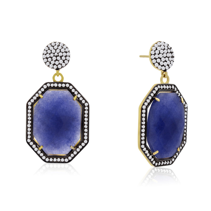 79 Carat Octagon Shape Blue Sapphire & Crystal Dangle Earrings in