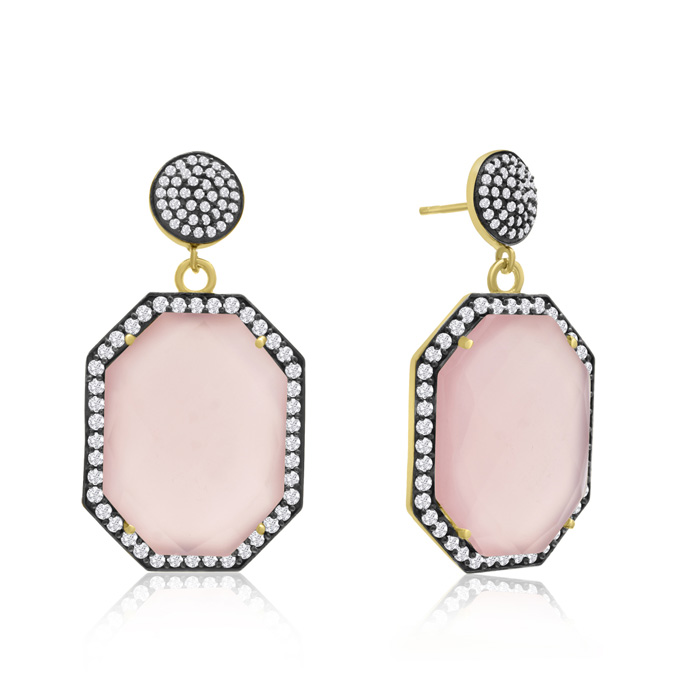79 Carat Octagon Shape Rose Quartz & Crystal Dangle Earrings in 1