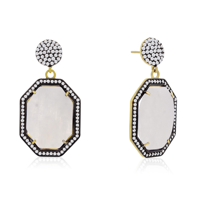 79 Carat Octagon Shape Moonstone and Simulated Diamond Dangle Earrings In 14K Yellow Gold Over Sterling Silver