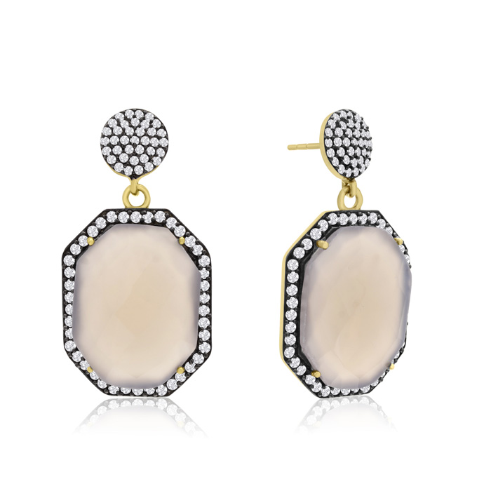 79 Carat Octagon Shape Gray Moonstone & Crystal Dangle Earrings i