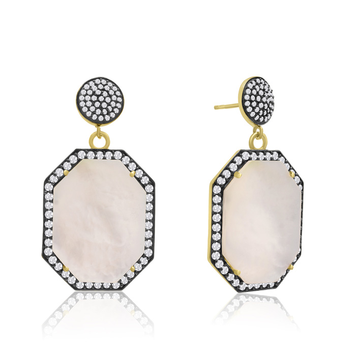 79 Carat Octagon Shape Mother of Pearl & Crystal Dangle Earrings in 14K Yellow Gold Over Sterling Silver by Sundar Gem