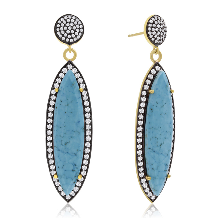 56 Carat Marquise Shape Turquoise and Simulated Diamond Dangle Earrings In 14K Yellow Gold Over Sterling Silver