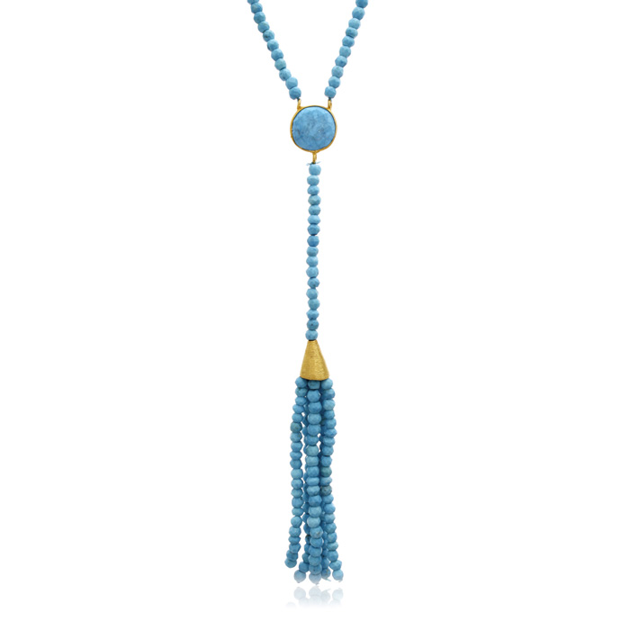 142 Carat Turquoise Tassel Necklace in 14K Yellow Gold Over Sterl