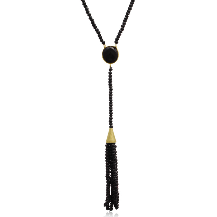 142 Carat Black Onyx Tassel Necklace in 14K Yellow Gold Over Ster