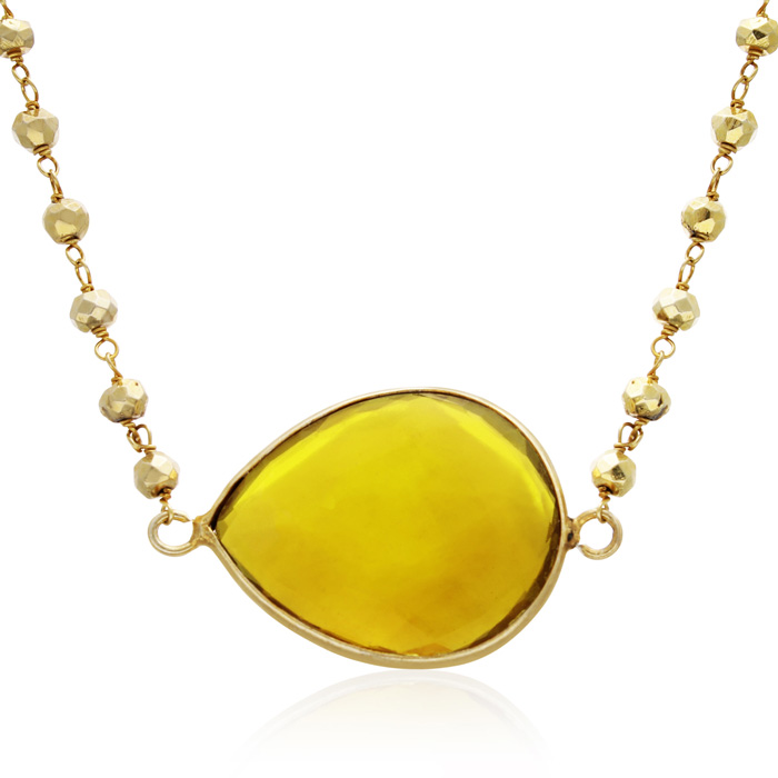 60 Carat Citrine Endless Necklace in 14K Yellow Gold Over Sterlin