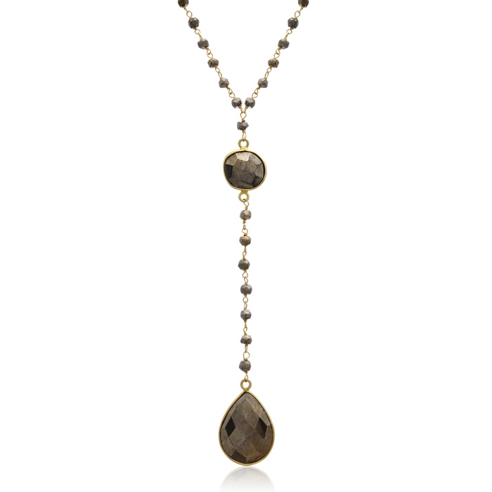 79 Carat Pyrite Pear Shape Y Bar Strand Necklace in 14K Yellow Go