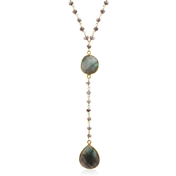 79 Carat Labradorite Pear Shape Y Bar Strand Necklace in 14K Yell
