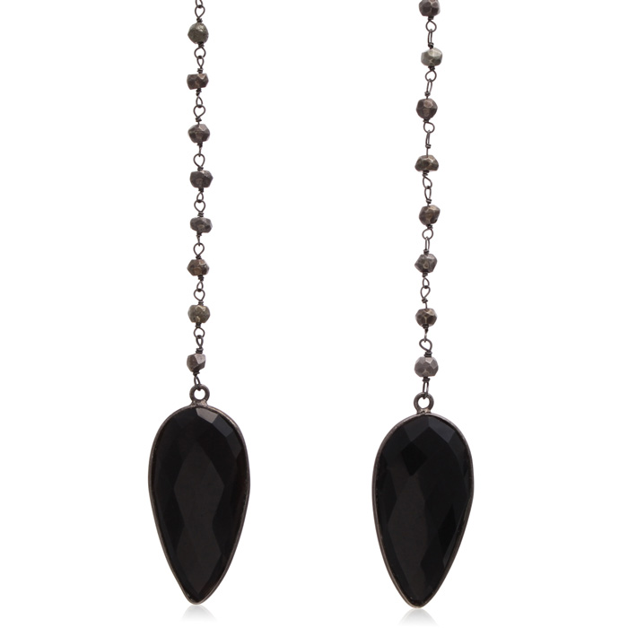 Image of 99 Carat Pear Shape Black Onyx and Pyrite Open Layer Necklace In 14 Karat Yellow Gold, 38 Inches